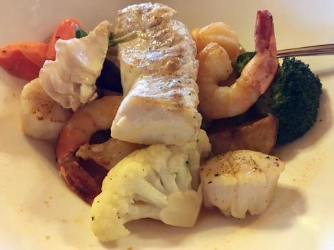 Seafood dinner, St Peters, Nova Scotia